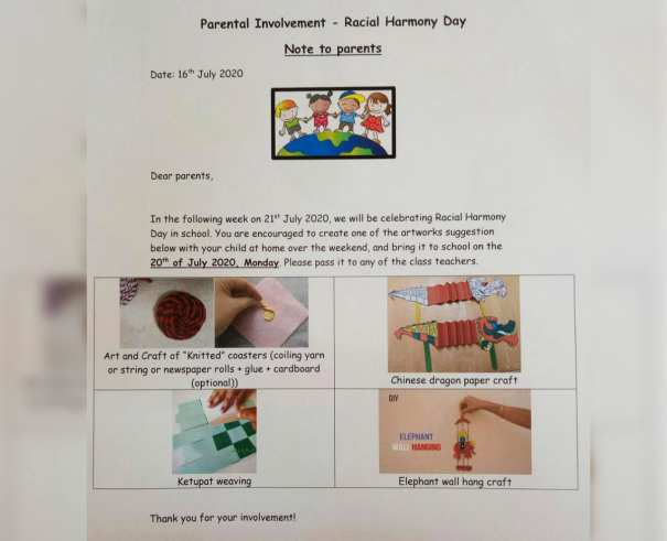 Preschool celebrating Racial Harmony Day 2020
